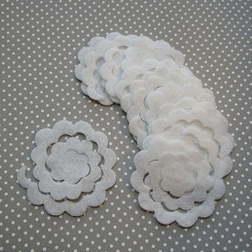3D roses, 1 dozen white felt flower rosette, DIY, felt die cut out, felt flower, rose cut out, bouquets, small felt roses, handmade