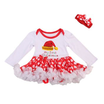 CANIS New Style Newborn Infant Baby Girls Dress Long Sleeve Romper Dot Dress+Bow Headband 2PCS Christmas Outfits Baby Clothing