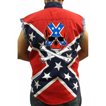 Sleeveless Denim Vest Confederate Rebel Flag Skull And Crossbones Biker Shirt