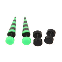 Green Black Stripe Faux Taper And Plug 4 Pack | Hot Topic