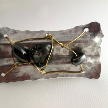 hand forged cuff- silver aluminum and black stone- artisan metal cuff - wide forged design - brass caged black stones