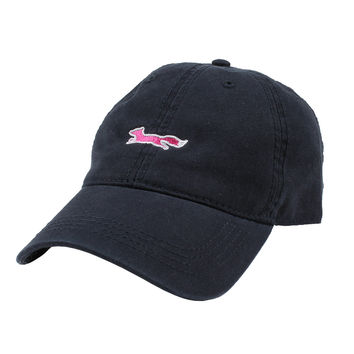 Longshanks Solid Pink Logo Hat in Navy Twill by Country Club Prep - FINAL SALE