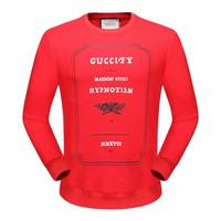 GUCCI 2018 autumn and winter models of high-end men and women models round neck pullover sweater Red