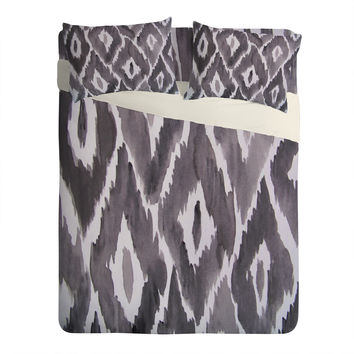 Natalie Baca Painterly Ikat in Black Sheet Set Lightweight
