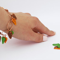 Dangle Leaves Bracelet, Hammered Copper Jewelry, Polymer Clay Foliage Charm
