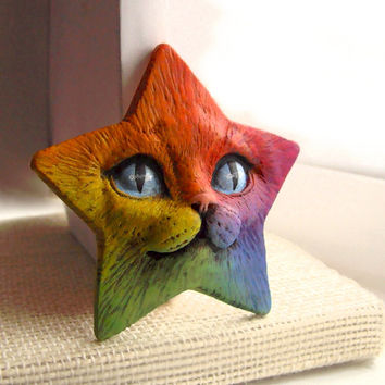 Rainbow Star Cat Face Cab Art Doll Kitty Animal Pet Bright Colorful Polymer Clay Cabochon roygbiv Blue Purple Red Orange Yellow 2975
