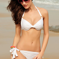 Ruched Push Up Padded White Bikini