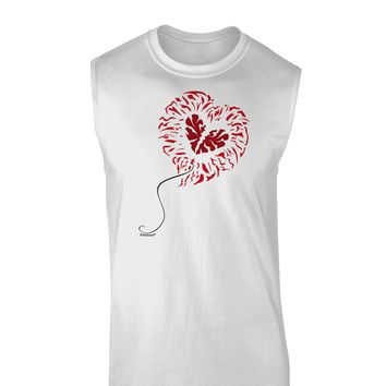 Broken Heart Popped Red Heart Balloon Muscle Shirt