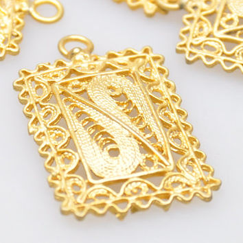 2 Pieces Gold Plated Chic Filigree Pendants, Turkish Jewelry, Jewelry Findings, Jewelry Making Supplies