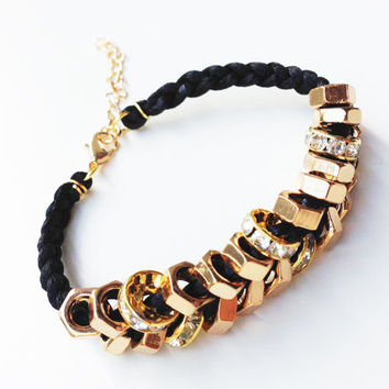 Arm candy - Gold nut beads and Black cord - woven bracelet