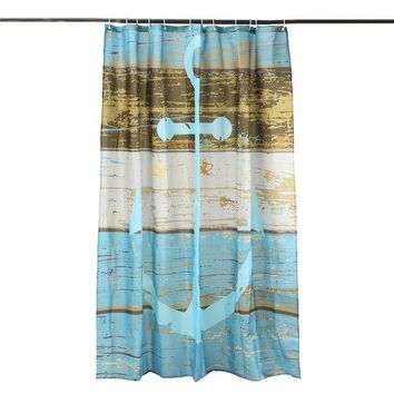 Digital Printing Polyester Fabric Bath Shower Curtain Blue Beige Nautical Anchor Beach Home Art Decor Bathroom Product