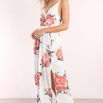 In Mind Rose Print Maxi Dress