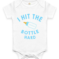 Funny I Hit the Bottle Hard Baby Clothes Infant Bodysuit Baby Shower Gift idea New Mom Christmas Humor Cute Joke Bottle Milk Drinking joke