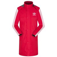 ADIDAS winter new long sports outdoor men and women models plus velvet warm cotton clothes red