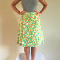 60s 70s Floral Wrap High Waisted Mid length Skirt, Vintage green orange and blue floral design, Button Waist,
