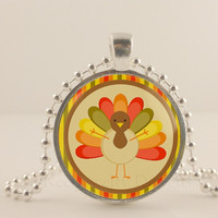 "Turkey, Thanksgiving, 1"" glass and metal Pendant necklace Jewelry."
