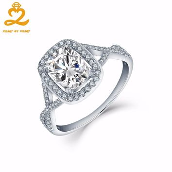 Heart By Heart Wedding Rings Vintage 925 Sterling Silver Engagement Rings for Women Men with White Topaz Luxury Jewelry