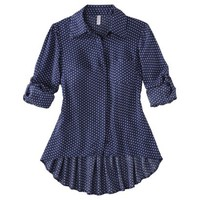 Xhilaration® Juniors Button Down High Low Top - Assorted Colors