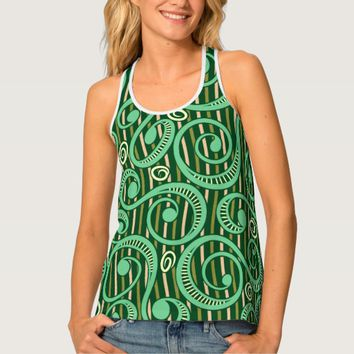 Caribbean Forest Green Tossing Vines Tank Top