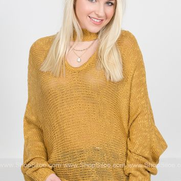 Golden Knit Dolman Sweater