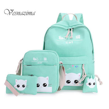 Gray cat backpacks for school girls school bags set of 4 green teenagers backpack mint green Japan Korean back pack pink WM111YL