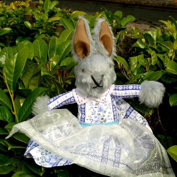 Mrs Grey Rabbit-O.a.a.K-Dressed Toy-Purple Floral Dress-Purple Felt Shoes-White Satin Pantaloons-Girls Toy-Birthday-Easter-Christmas Gift