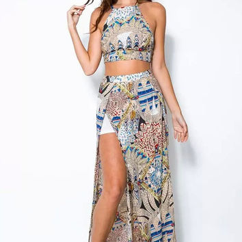 Off-the-shoulder Two Piece Floral Printed Long Slit Maxi Dress