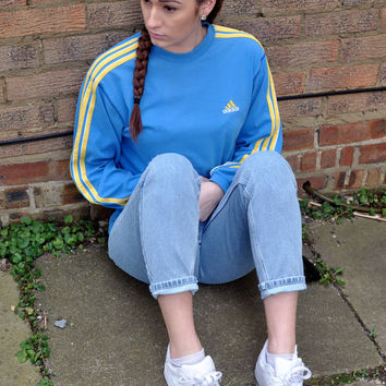 Adidas Vintage 90s Blue Sportswear Sweater Jumper Boyfriend Fit