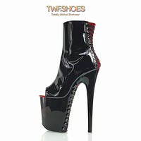 """Flamingo 1025 Black Patent Red Corset Vamp Ankle Boots  8"""" High Heels"""