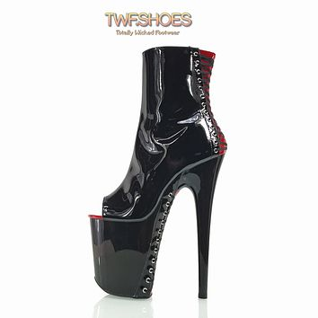 "Flamingo 1025 Black Patent Red Corset Vamp Ankle Boots  8"" High Heels"