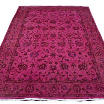 6x9 Overdyed Fuchsia Hot Pink Floral Vine Rug 2783