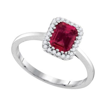 14kt White Gold Womens Cushion Ruby Solitaire Rectangle Frame Diamond Ring 1-1/8 Cttw