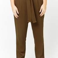 Plus Size Belted Paperbag Waist Pants