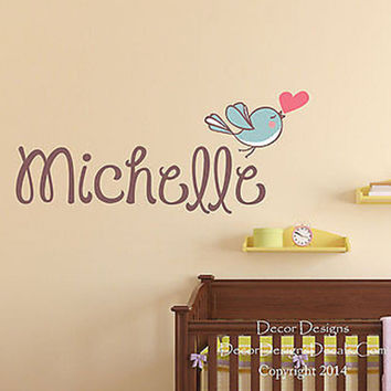 Love Bird Custom Name Printed Fabric Repositionable Wall Decal Sticker