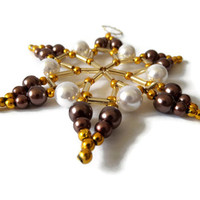 Christmas star ornament, star made from seed beads for decoration in white, gold and dark brown