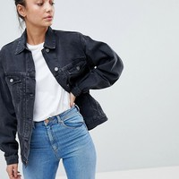 ASOS DESIGN Tall denim girlfriend jacket in washed black at asos.com