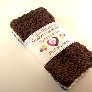 Cotton Crochet Dishcloths Set of 3 Oatmeal Warm Brown and Blue crocheted rags dish scrubbies