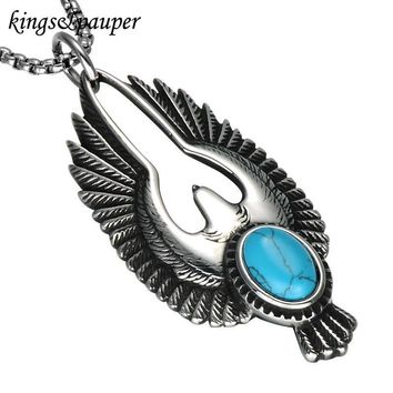 Stainless Steel Flying Eagle Men Turquoise Necklaces
