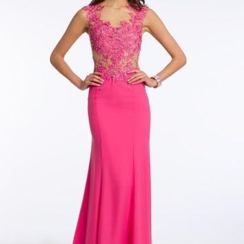 Beaded Appliques Illusion Bodice Dress