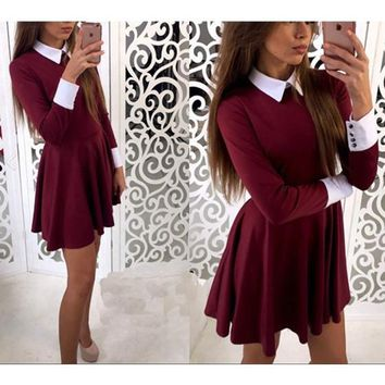 Burgundy Plain Pleated Peter Pan Collar Cute Teens Homcoming Skater Mini Dress