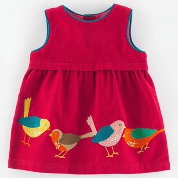 Infant Girl's Mini Boden 'Pinnie' Applique Corduroy Pinafore Dress,
