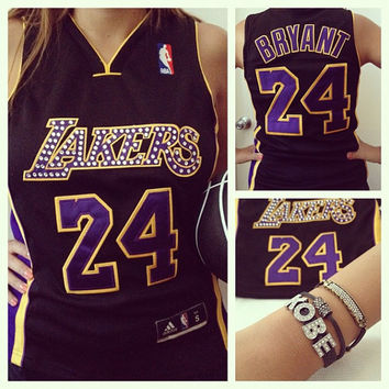 Lakers jersey with Swarovski crystals and custom jewelry set