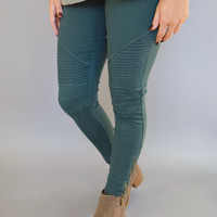 Sierra Moto Leggings Emerald