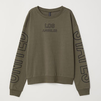 Sweatshirt with Printed Design - Khaki green/Los Angeles - | H&M US
