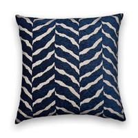 Gorgeous Blue Velvet Zebra Decorative Pillow Cover--20 x 20 Duralee Velvet Throw Pillow--Blue and Cream