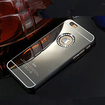 Luxury Gold Black Mirror Hard Bling shell hard plastic Rhinestone Diamond Crysta Case Cover for iPhone 6 plus 5.5''