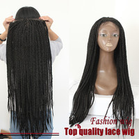 High quality black braid wig synthetic lace front box braid wig