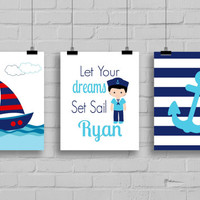 Sailor Decor - Let Your Dreams Set Sail, Nautical Nursery Decor, Boy Sailor, Boys Room Decor, Anchor Decor, Sailboat, Set of 3 Prints