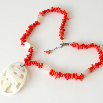 Vintage Red Coral Necklace Branch Coral Necklace Carved Mother of Pearl Pendant Necklace