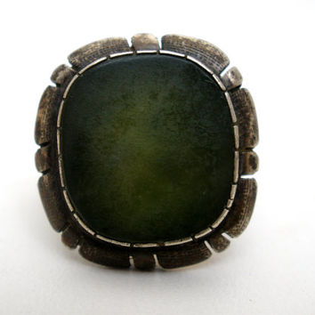 Serpentine Ring, Sterling Silver, Inlay Calar Gemstone, Vintage Rings, Fashion Jewelry, Size 5, Green Stone, Jewellery, Boho Statement